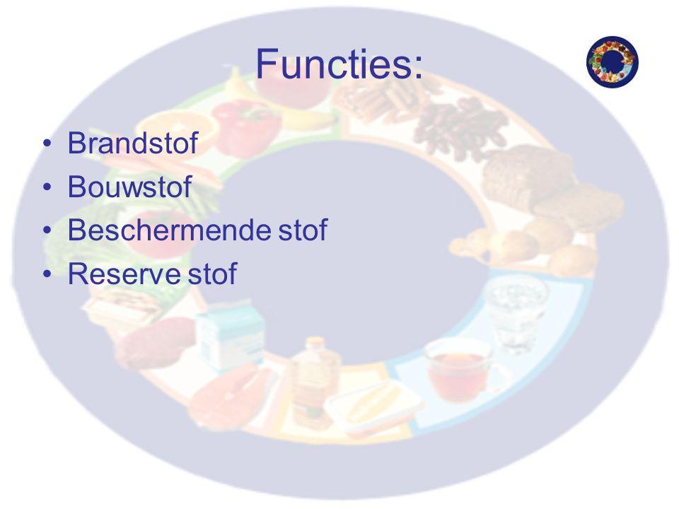 Functies: Brandstof Bouwstof Beschermende stof Reserve stof