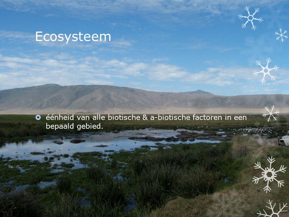 Ecosysteem  éénheid van alle biotische & a-biotische factoren in een bepaald gebied.