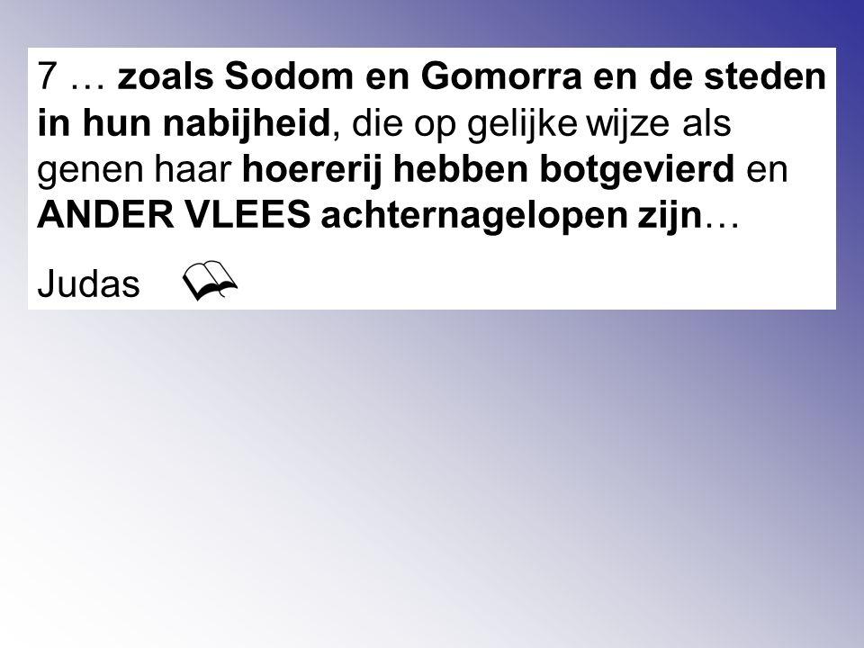 7 … zoals Sodom en Gomorra en de steden in hun nabijheid, die op gelijke wijze als genen haar hoererij hebben botgevierd en ANDER VLEES achternagelopen zijn… Judas