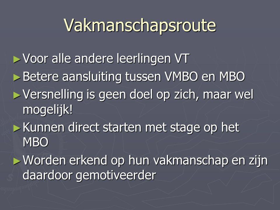 Vakmanschapsroute ► Voor alle andere leerlingen VT ► Betere aansluiting tussen VMBO en MBO ► Versnelling is geen doel op zich, maar wel mogelijk.