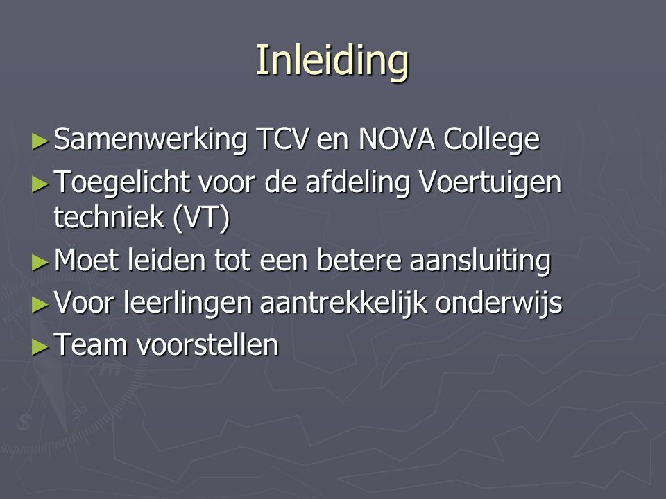 Inleiding ► Samenwerking TCV en NOVA College ► Toegelicht voor de afdeling Voertuigen techniek (VT) ► Moet leiden tot een betere aansluiting ► Voor leerlingen aantrekkelijk onderwijs ► Team voorstellen