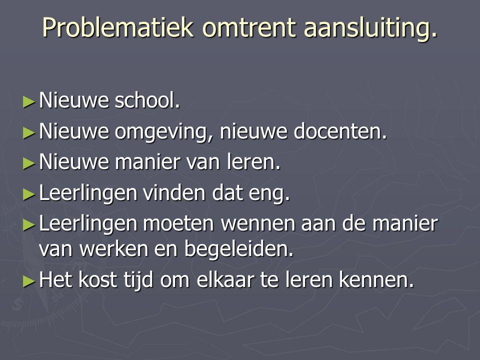 Problematiek omtrent aansluiting. ► Nieuwe school.
