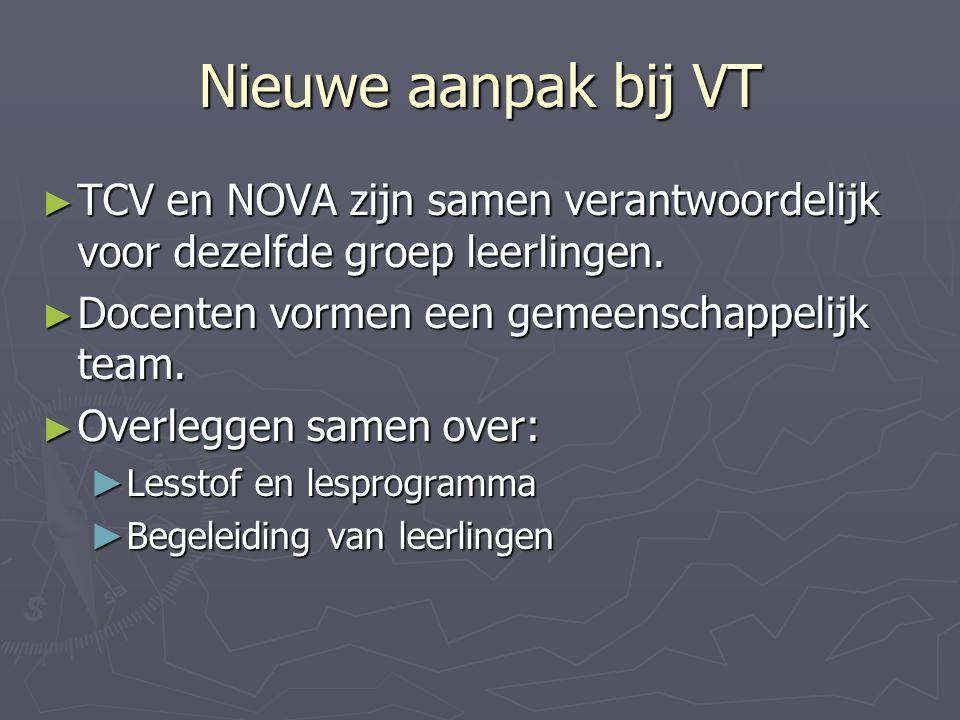 Nieuwe aanpak bij VT ► TCV en NOVA zijn samen verantwoordelijk voor dezelfde groep leerlingen. ► Docenten vormen een gemeenschappelijk team. ► Overleg