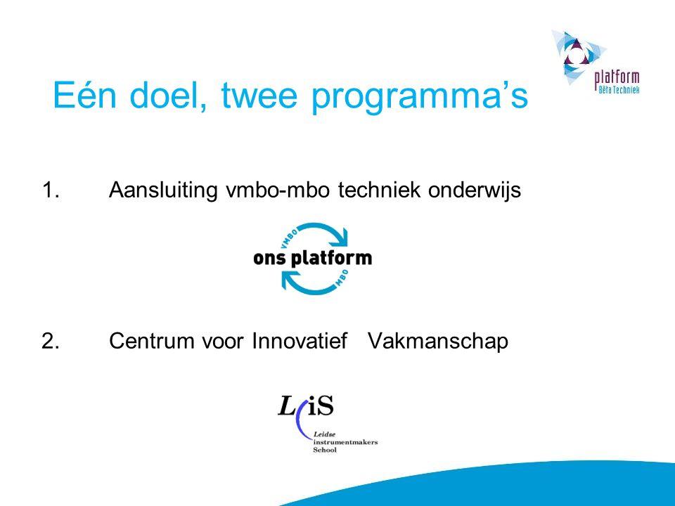 Eén doel, twee programma's 1.Aansluiting vmbo-mbo techniek onderwijs 2.Centrum voor Innovatief Vakmanschap