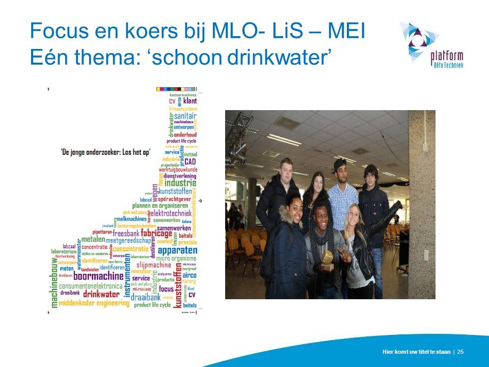 Hier komt uw titel te staan | 25 Focus en koers bij MLO- LiS – MEI Eén thema: 'schoon drinkwater'