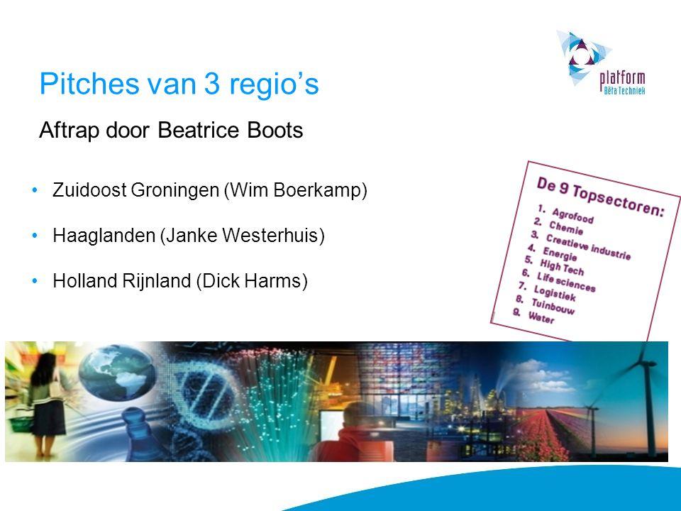Pitches van 3 regio's Aftrap door Beatrice Boots Zuidoost Groningen (Wim Boerkamp) Haaglanden (Janke Westerhuis) Holland Rijnland (Dick Harms)