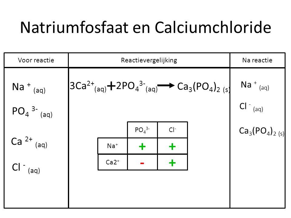 Natriumfosfaat en Calciumchloride Na + (aq) PO 4 3- (aq) Ca 2+ (aq) Cl - (aq) + 3Ca 2+ (aq) 2PO 4 3- (aq) Ca 3 (PO 4 ) 2 (s) Na + (aq) Cl - (aq) Voor