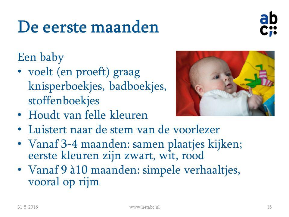 De eerste maanden Een baby voelt (en proeft) graag knisperboekjes, badboekjes, stoffenboekjes Houdt van felle kleuren Luistert naar de stem van de voo
