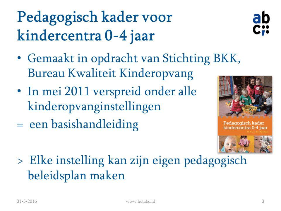 Pedagogisch kader voor kindercentra 0-4 jaar Gemaakt in opdracht van Stichting BKK, Bureau Kwaliteit Kinderopvang In mei 2011 verspreid onder alle kin