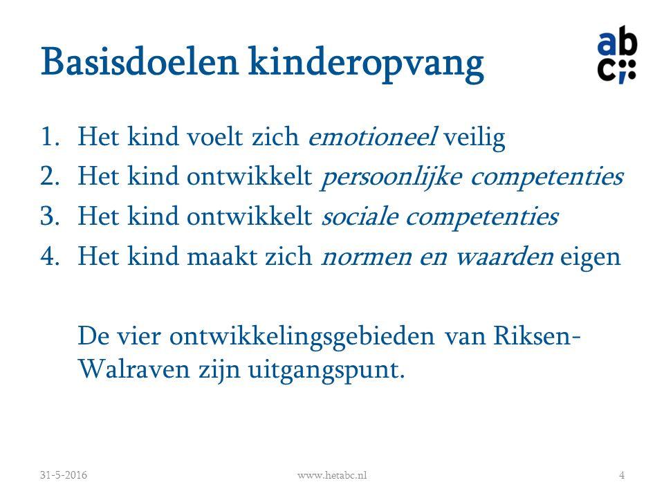Basisdoelen kinderopvang 1.Het kind voelt zich emotioneel veilig 2.Het kind ontwikkelt persoonlijke competenties 3.Het kind ontwikkelt sociale compete