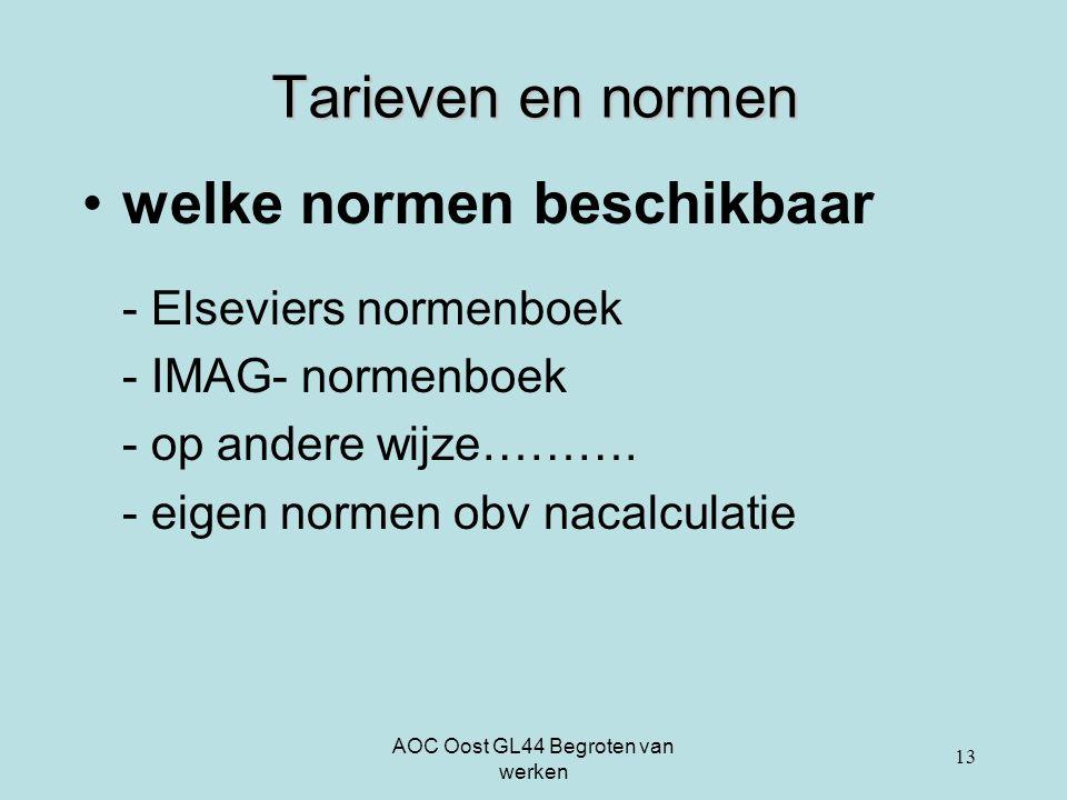 AOC Oost GL44 Begroten van werken 13 Tarieven en normen welke normen beschikbaar - Elseviers normenboek - IMAG- normenboek - op andere wijze………. - eig