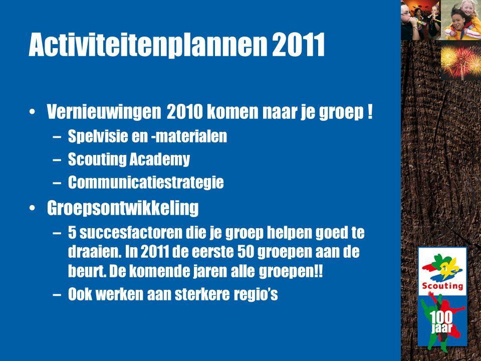 Activiteitenplannen 2011 Vernieuwingen 2010 komen naar je groep .