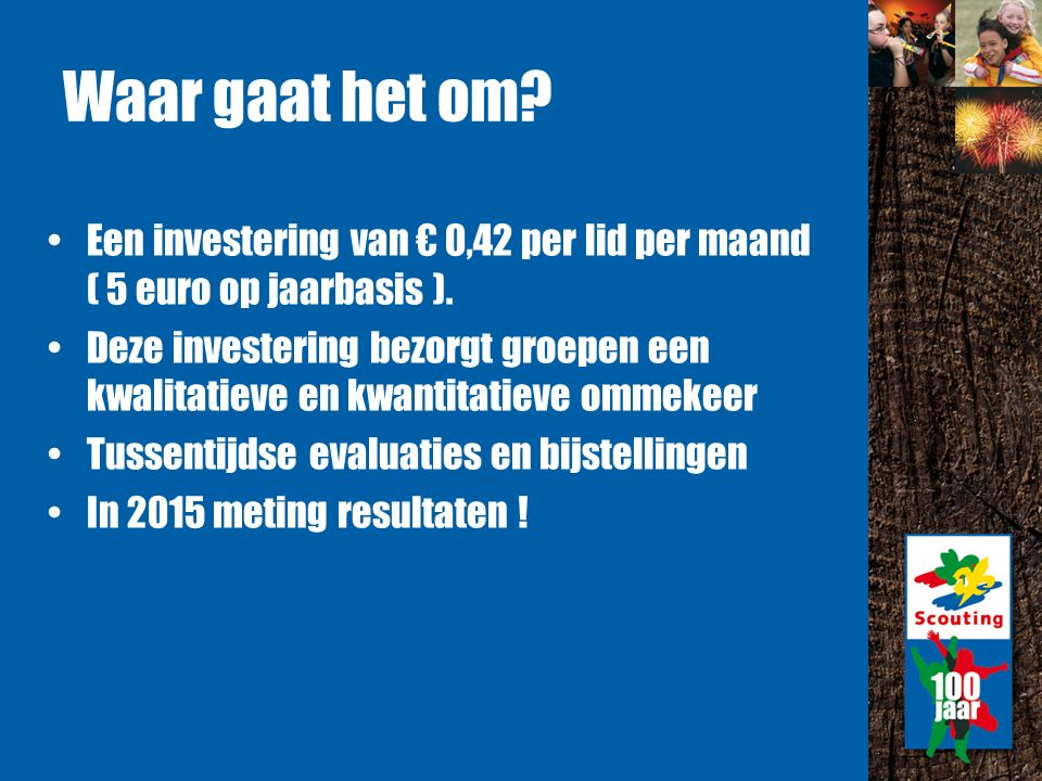 Waar gaat het om. Een investering van € 0,42 per lid per maand ( 5 euro op jaarbasis ).