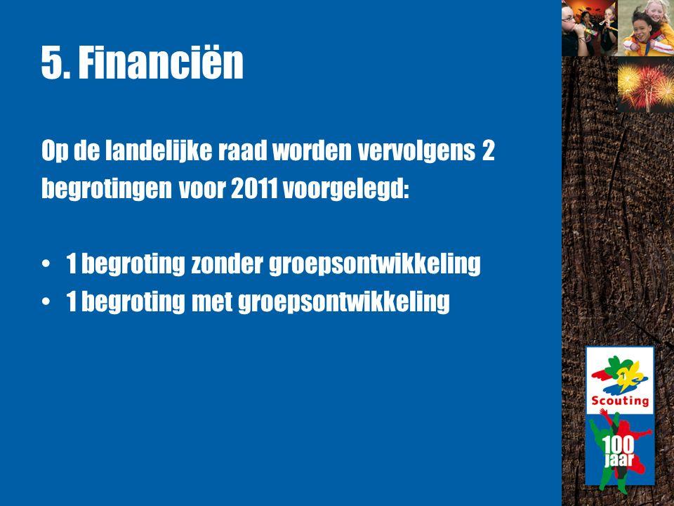 5. Financiën Op de landelijke raad worden vervolgens 2 begrotingen voor 2011 voorgelegd: 1 begroting zonder groepsontwikkeling 1 begroting met groepso