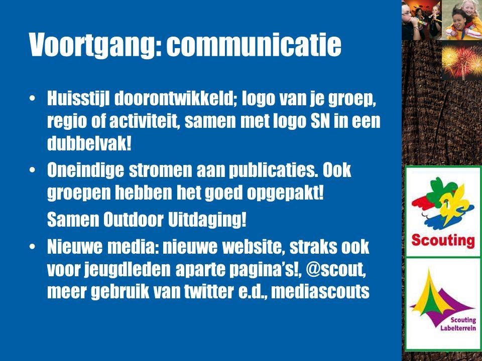 Voortgang: communicatie Huisstijl doorontwikkeld; logo van je groep, regio of activiteit, samen met logo SN in een dubbelvak.