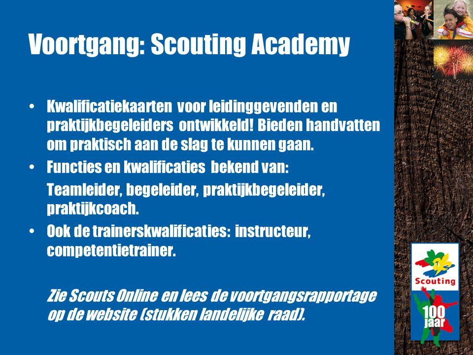 Voortgang: Scouting Academy Kwalificatiekaarten voor leidinggevenden en praktijkbegeleiders ontwikkeld.