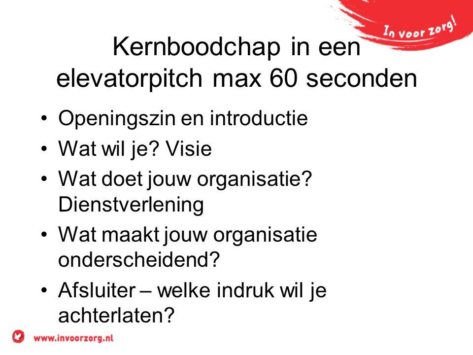 Kernboodchap in een elevatorpitch max 60 seconden Openingszin en introductie Wat wil je.