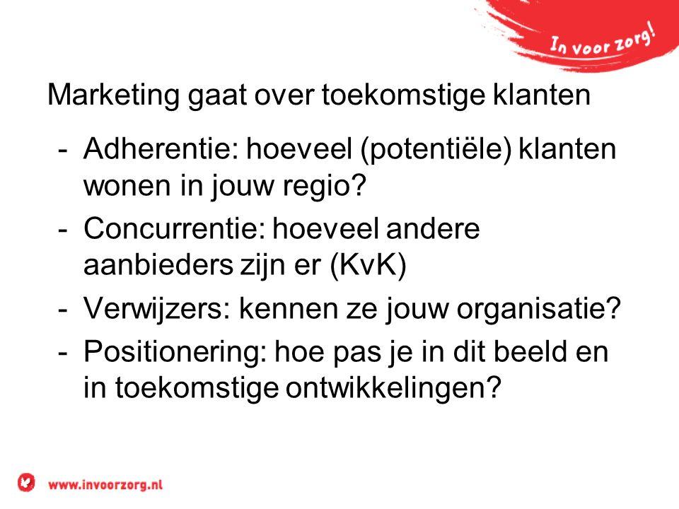 Marketing gaat over toekomstige klanten -Adherentie: hoeveel (potentiële) klanten wonen in jouw regio.