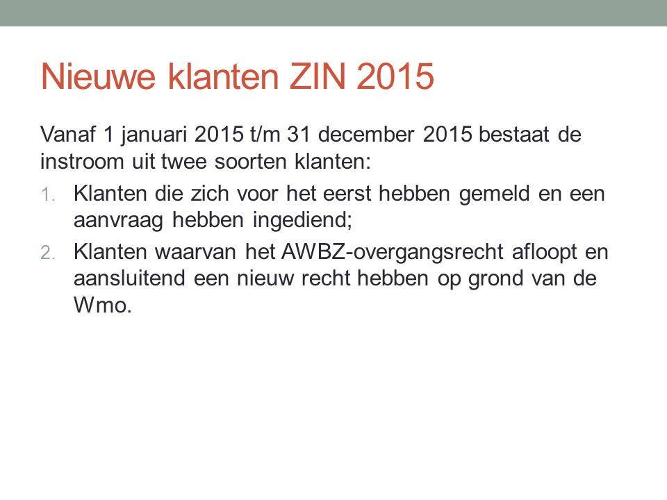 Nieuwe klanten ZIN 2015 Vanaf 1 januari 2015 t/m 31 december 2015 bestaat de instroom uit twee soorten klanten: 1.
