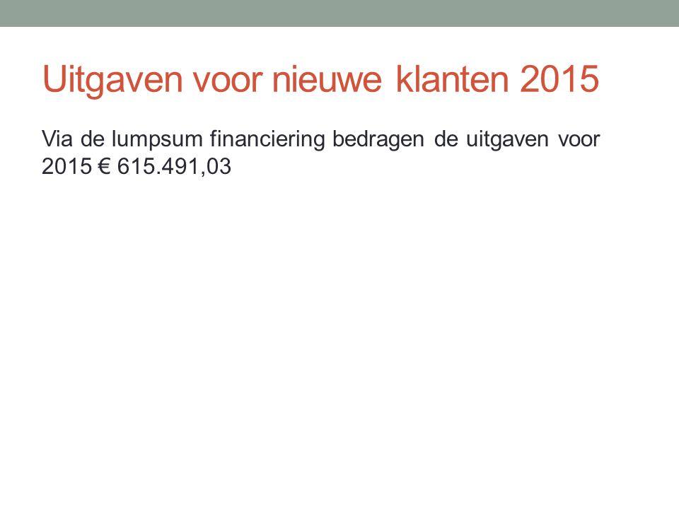 Uitgaven voor nieuwe klanten 2015 Via de lumpsum financiering bedragen de uitgaven voor 2015 € 615.491,03