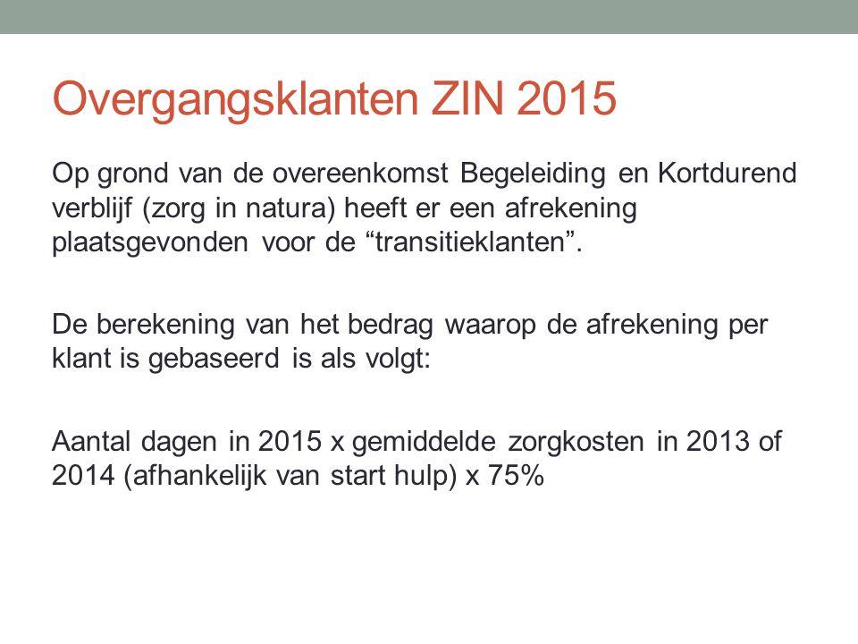 Overgangsklanten ZIN 2015 Op grond van de overeenkomst Begeleiding en Kortdurend verblijf (zorg in natura) heeft er een afrekening plaatsgevonden voor de transitieklanten .