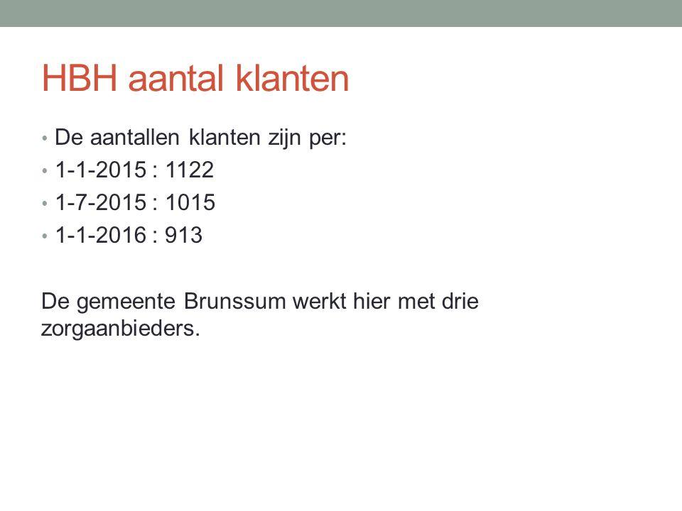 HBH aantal klanten De aantallen klanten zijn per: 1-1-2015 : 1122 1-7-2015 : 1015 1-1-2016 : 913 De gemeente Brunssum werkt hier met drie zorgaanbieders.