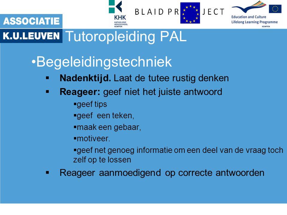 Tutoropleiding PAL Begeleidingstechniek  Nadenktijd.