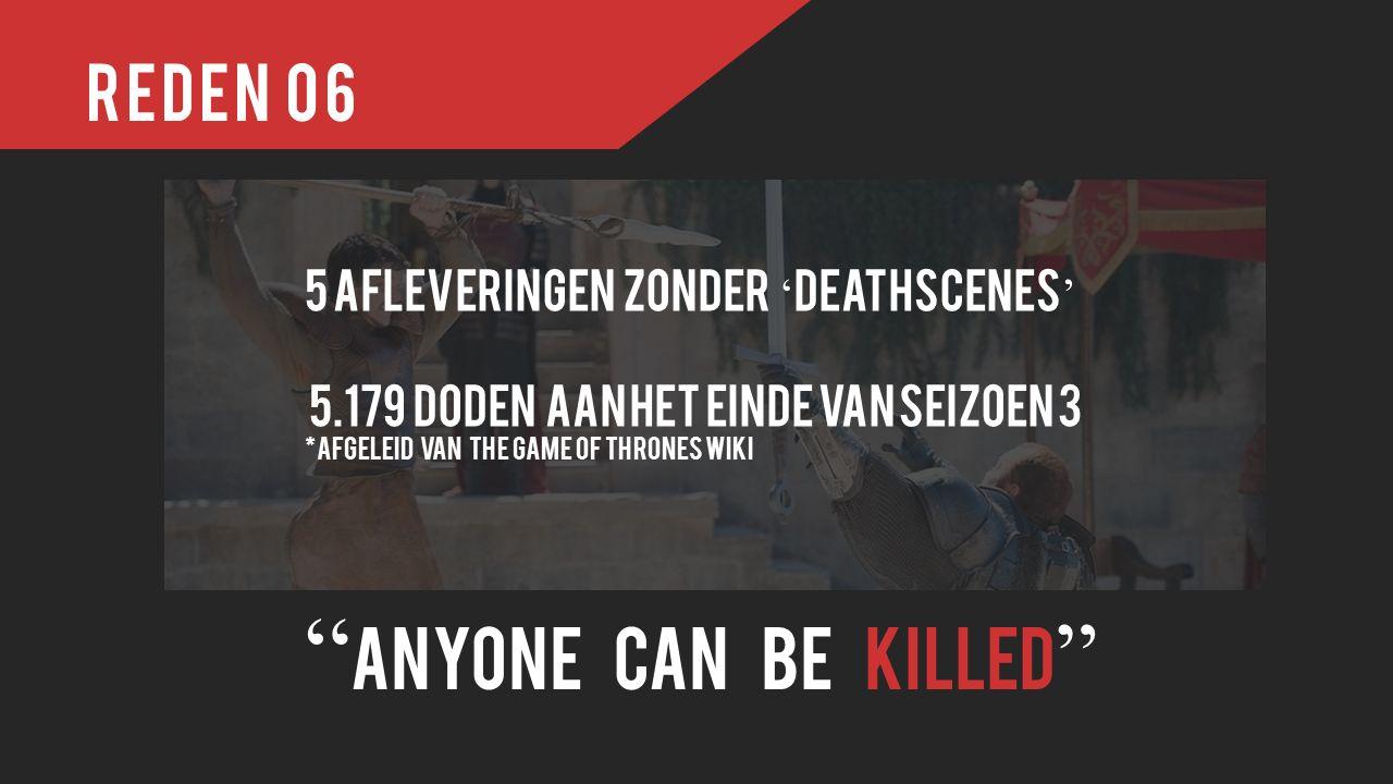 Reden 06 Anyone can be killed 5 afleveringen zonder ' deathscenes ' 5.179 doden aan het einde van seizoen 3 *afgeleid van the game of thrones wiki