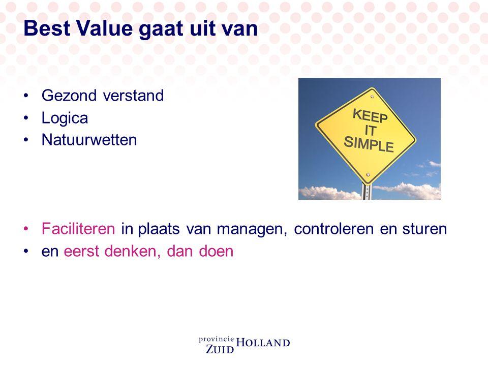 Best Value gaat uit van Gezond verstand Logica Natuurwetten Faciliteren in plaats van managen, controleren en sturen en eerst denken, dan doen