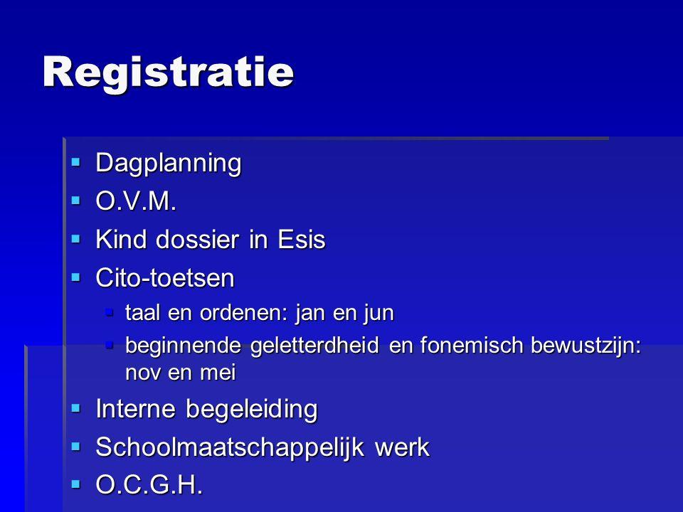Registratie  Dagplanning  O.V.M.