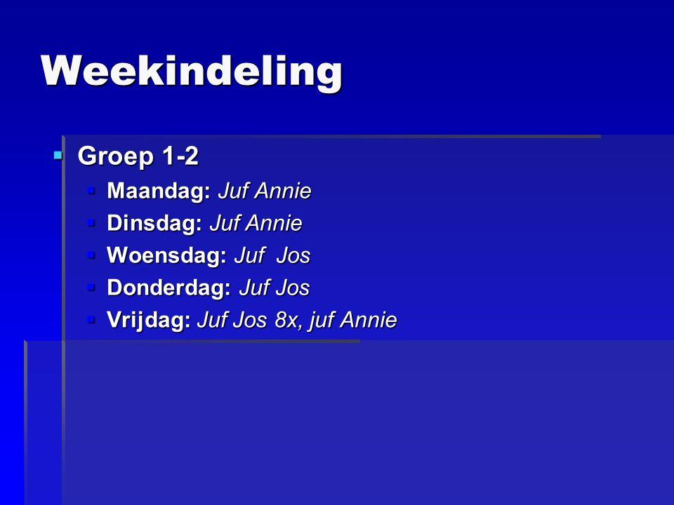 Weekindeling  Groep 1-2  Maandag: Juf Annie  Dinsdag: Juf Annie  Woensdag: Juf Jos  Donderdag: Juf Jos  Vrijdag: Juf Jos 8x, juf Annie