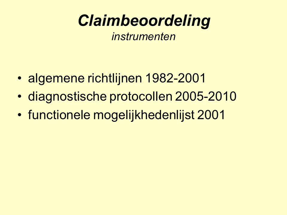 Claimbeoordeling instrumenten: richtlijnen richtlijnen 1982-2001 (SV) rapportageprotocol 1982 GDBM 1995 MAOC 1997 communicatie behandelaars 1998 arbeidsduurbeperking 1999 onderzoeksmethoden 2001 e.a.
