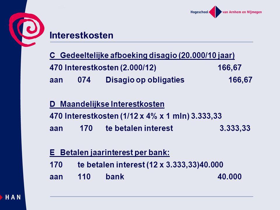 Interestkosten CGedeeltelijke afboeking disagio (20.000/10 jaar) 470 Interestkosten (2.000/12) 166,67 aan074Disagio op obligaties 166,67 DMaandelijkse