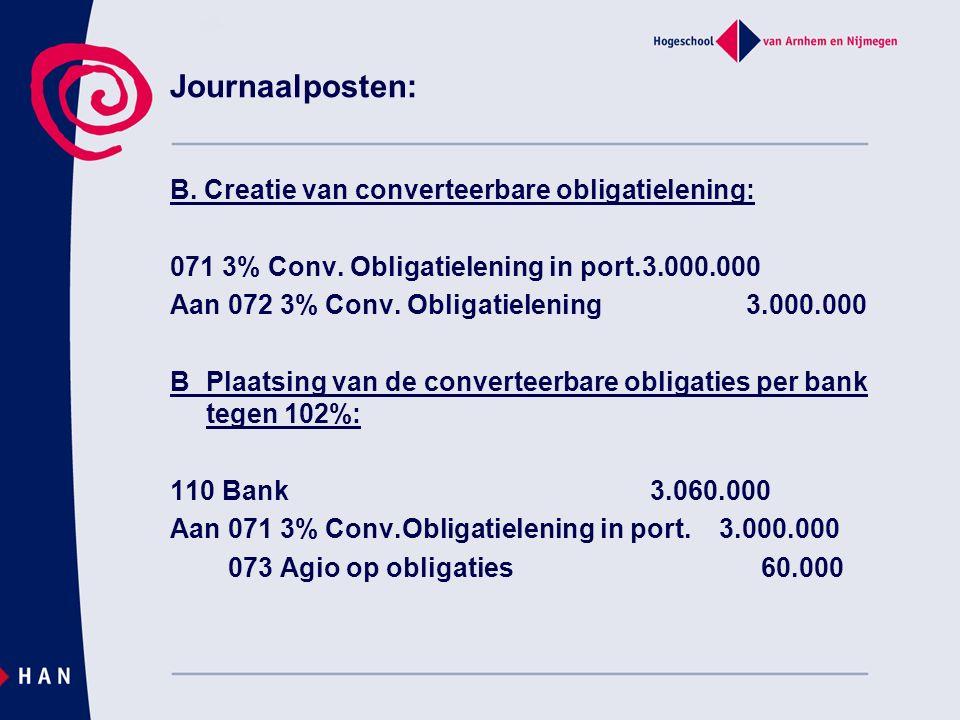 Journaalposten: B. Creatie van converteerbare obligatielening: 071 3% Conv. Obligatielening in port.3.000.000 Aan 072 3% Conv. Obligatielening3.000.00