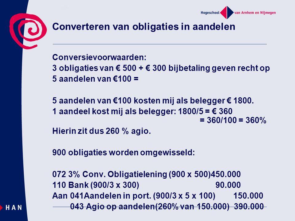 Converteren van obligaties in aandelen Conversievoorwaarden: 3 obligaties van € 500 + € 300 bijbetaling geven recht op 5 aandelen van €100 = 5 aandele