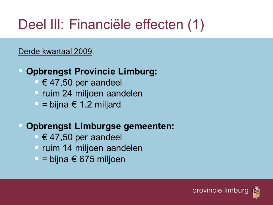 10 Deel III: Financiële effecten (1) Derde kwartaal 2009:  Opbrengst Provincie Limburg:  € 47,50 per aandeel  ruim 24 miljoen aandelen  = bijna €