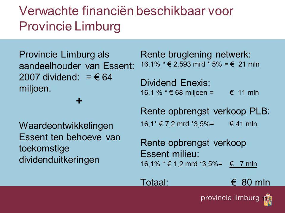 11 Verwachte financiën beschikbaar voor Provincie Limburg Provincie Limburg als aandeelhouder van Essent: 2007 dividend: = € 64 miljoen. + Rente brugl