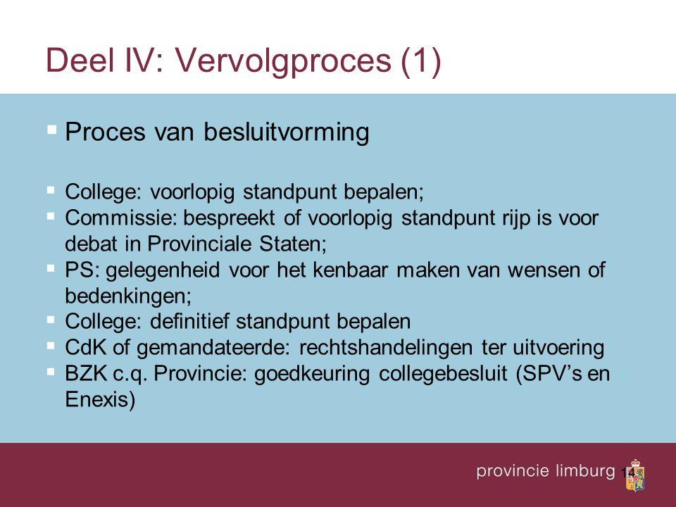 14 Deel IV: Vervolgproces (1)  Proces van besluitvorming  College: voorlopig standpunt bepalen;  Commissie: bespreekt of voorlopig standpunt rijp i