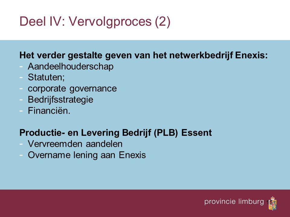 15 Deel IV: Vervolgproces (2) Het verder gestalte geven van het netwerkbedrijf Enexis: - Aandeelhouderschap - Statuten; - corporate governance - Bedrijfsstrategie - Financiën.