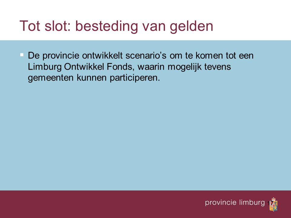 17 Tot slot: besteding van gelden  De provincie ontwikkelt scenario's om te komen tot een Limburg Ontwikkel Fonds, waarin mogelijk tevens gemeenten k
