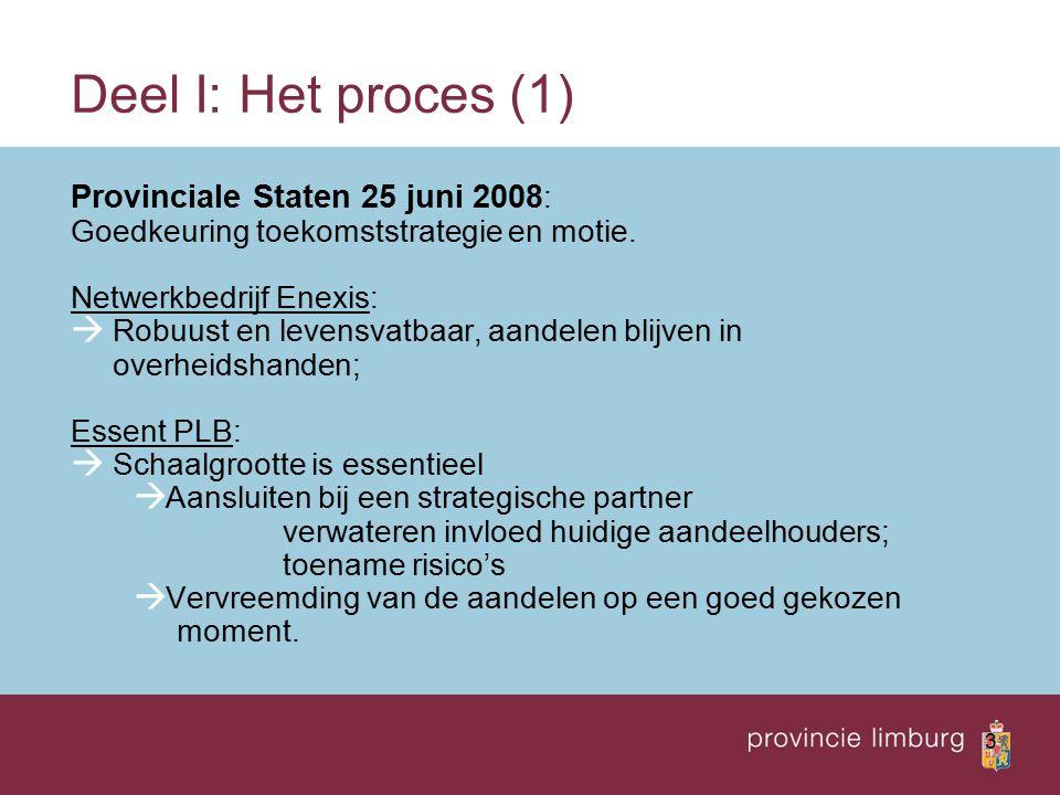 3 Deel I: Het proces (1) Provinciale Staten 25 juni 2008 : Goedkeuring toekomststrategie en motie. Netwerkbedrijf Enexis:  Robuust en levensvatbaar,