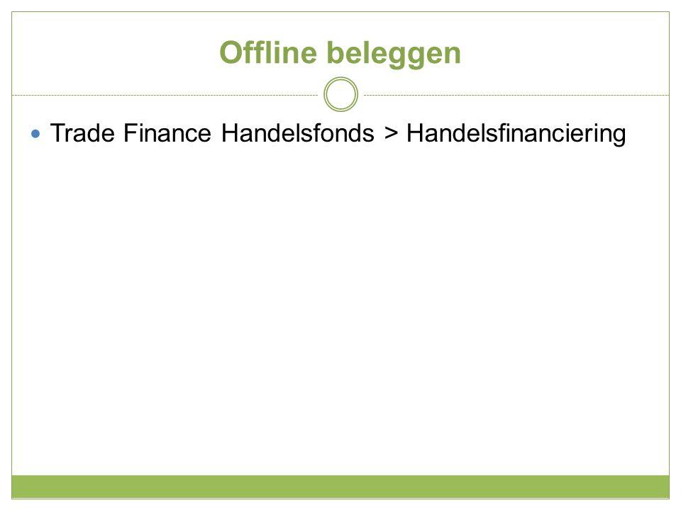 Trade Finance Handelsfonds is een beleggingsfonds Stuur een deelnameformulier aan De Veste Maak de inleg over naar de rekening van het fonds Ontvang per kwartaal het rendement op uw bankrekening Of herinvesteer en geniet van rente op rente