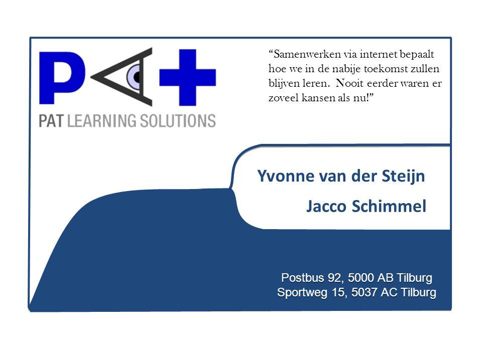 "Postbus 92, 5000 AB Tilburg Sportweg 15, 5037 AC Tilburg Jacco Schimmel Yvonne van der Steijn ""Samenwerken via internet bepaalt hoe we in de nabije to"