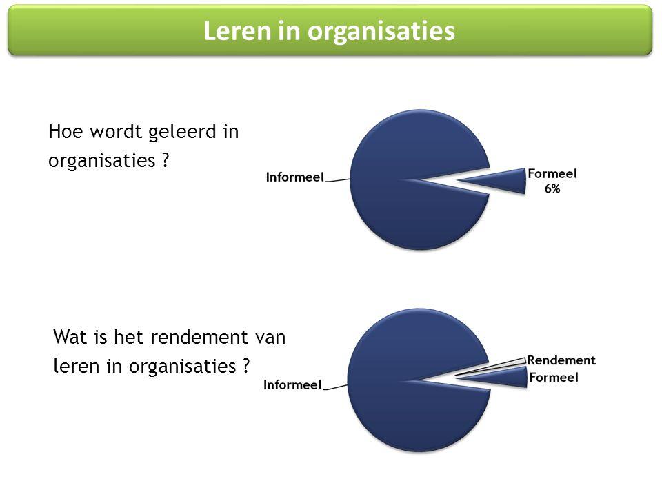 Hoe wordt geleerd in organisaties . Wat is het rendement van leren in organisaties .