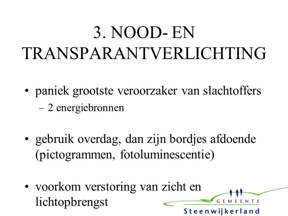 3. NOOD- EN TRANSPARANTVERLICHTING paniek grootste veroorzaker van slachtoffers –2 energiebronnen gebruik overdag, dan zijn bordjes afdoende (pictogra