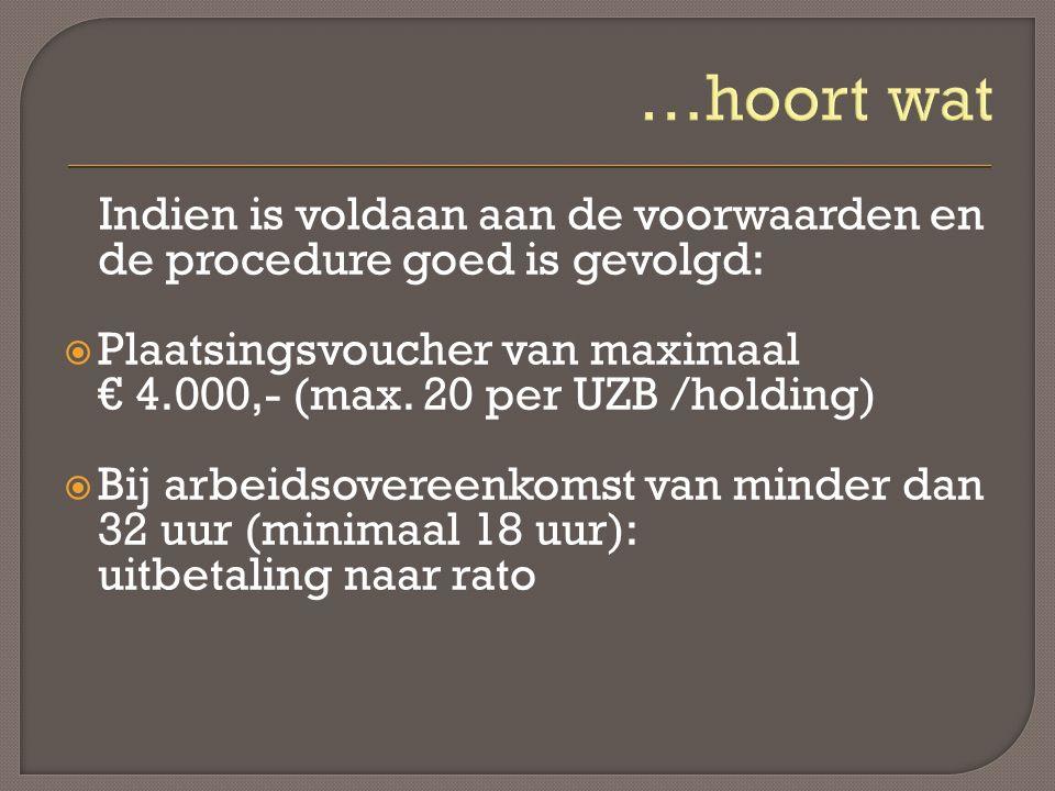 Indien is voldaan aan de voorwaarden en de procedure goed is gevolgd:  Plaatsingsvoucher van maximaal € 4.000,- (max.