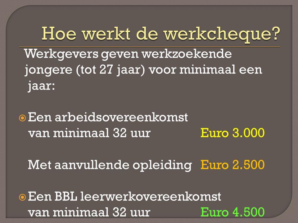 Werkgevers geven werkzoekende jongere (tot 27 jaar) voor minimaal een jaar:  Een arbeidsovereenkomst van minimaal 32 uur Euro 3.000 Met aanvullende opleiding Euro 2.500  Een BBL leerwerkovereenkomst van minimaal 32 uur Euro 4.500