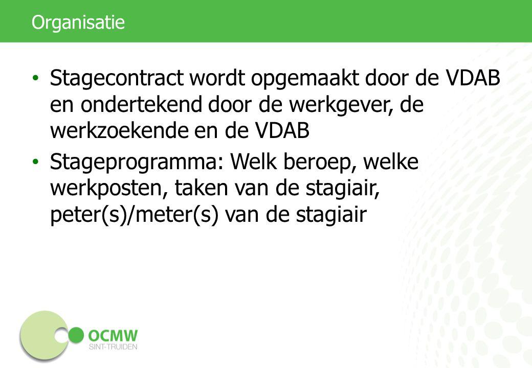Organisatie Stagecontract wordt opgemaakt door de VDAB en ondertekend door de werkgever, de werkzoekende en de VDAB Stageprogramma: Welk beroep, welke werkposten, taken van de stagiair, peter(s)/meter(s) van de stagiair