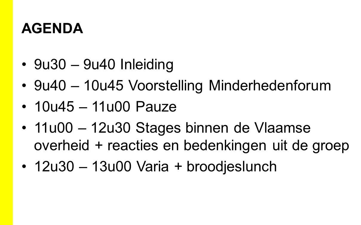 AGENDA 9u30 – 9u40 Inleiding 9u40 – 10u45 Voorstelling Minderhedenforum 10u45 – 11u00 Pauze 11u00 – 12u30 Stages binnen de Vlaamse overheid + reacties en bedenkingen uit de groep 12u30 – 13u00 Varia + broodjeslunch