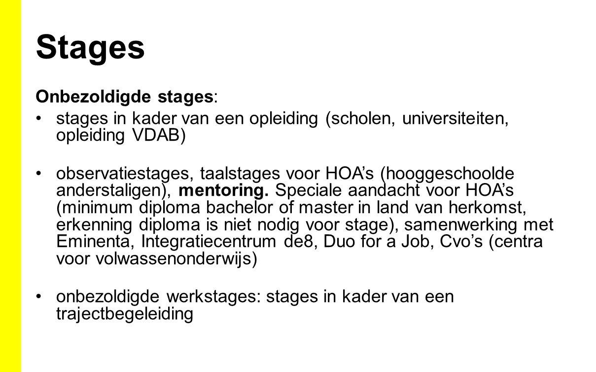 Stages Onbezoldigde stages: stages in kader van een opleiding (scholen, universiteiten, opleiding VDAB) observatiestages, taalstages voor HOA's (hooggeschoolde anderstaligen), mentoring.